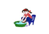 卡通小女孩洗衣服原创漫画