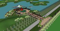 美丽乡村公园码头SU模型设计素材