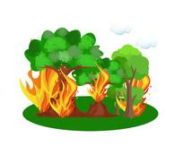 森林着火原创漫画