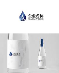 时尚简洁大气水logo AI