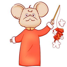 手绘2020鼠年老鼠手拿鞭炮插画元素