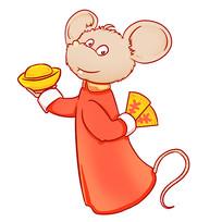 手绘2020鼠年老鼠手拿元宝插画元素