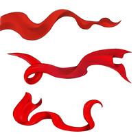 手绘红色飘带喜庆节日元素