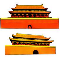 手绘怀旧类似故宫天安门建筑插画元素