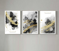 现代简约抽象油画艺术金箔画三联装饰画 TIF