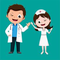 原创元素医生护士打招呼表情