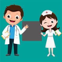 原创元素医生护士二维码展示表情