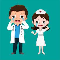 原创元素医生护士伤心哭泣表情