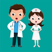 原创元素医生护士生气表情