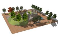 院子庭院景观SU模型