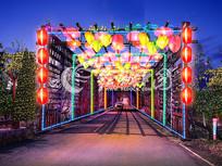 长廊夜景亮化效果图 PSD