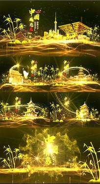 大气光线粒子金色图文展示AE模板
