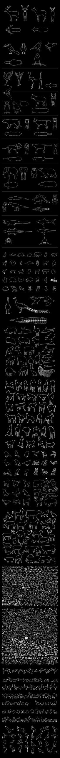 动物CAD图纸集合(三视图)