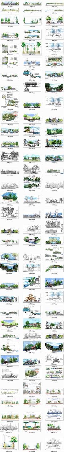 高清经典园林景观剖面图景观设计效果图