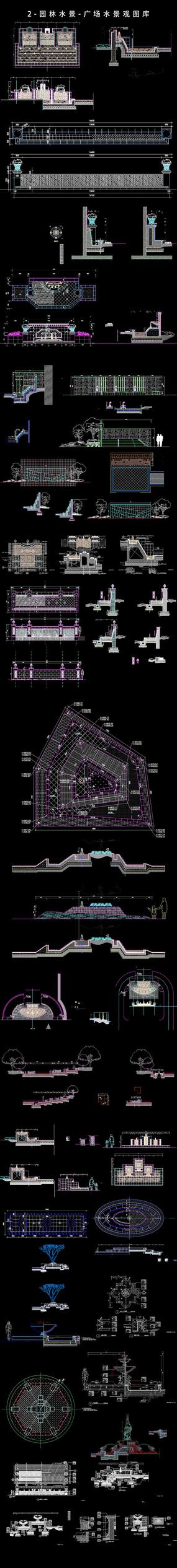 广场景观水喷泉CAD设计图