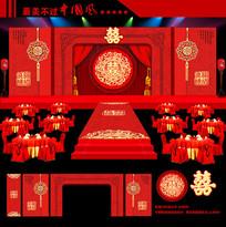 红色奢华中式婚礼整套背景布置