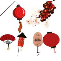 简约卡通手绘灯笼鞭炮扇子喜庆装饰元素