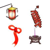 简约卡通手绘灯笼鞭炮丝绸香炉装饰元素