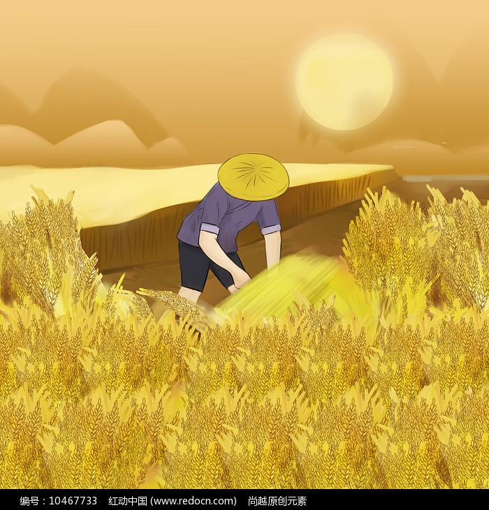 金黄色农民在稻田收割稻谷秋季大丰收插画图片