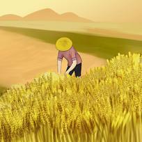 金黄色农民在稻田收割稻谷秋季大丰收插画