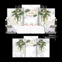 欧式大理石主题婚礼设计简单婚庆背景 PSD
