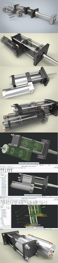 proe气液增压缸80-50-5-5T