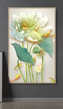 清新3D浮雕荷花立体鲤鱼花鸟玄关装饰画