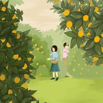 手绘赣南脐橙秋季大丰收插画元素