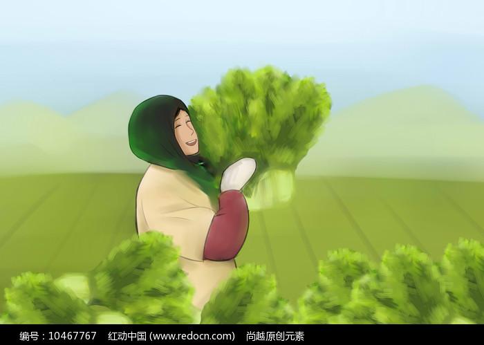 手绘朴素农民手抱青菜菜园摘菜大丰收插画图片