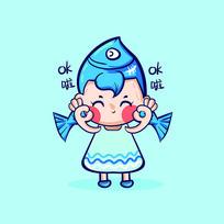 双鱼座卡通插画