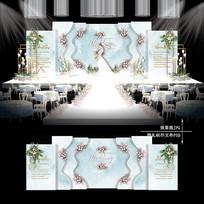 小清新水彩主题婚礼效果图设计婚庆背景