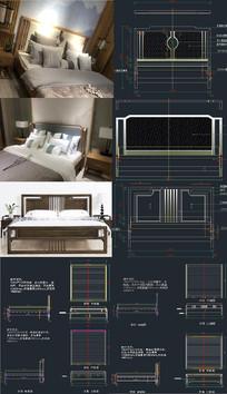 新中式床CAD图