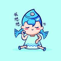 双鱼星座卡通人物造型