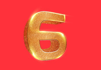 原创元素数字6立体字