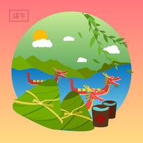 原創中國八大傳統節日之端午卡通插畫