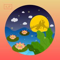 原创中国八大传统节日之七夕节卡通插画