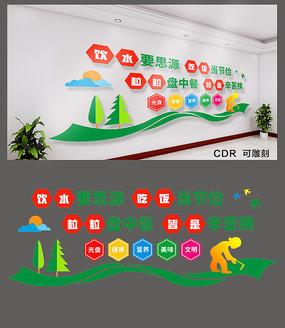 2019年简约食堂文化墙设计