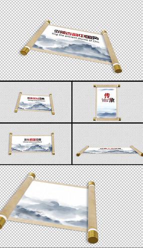 9组水墨画卷中国风卷轴动画AE模板