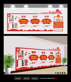 党员活动室党建核心价值观立体文化墙