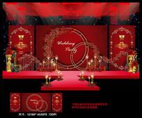 高端奢华欧式红色婚礼背景板