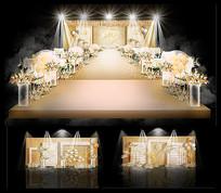 高端香槟色主题婚礼婚庆背景板