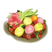 手绘新鲜水果果蔬堆食品插画元素