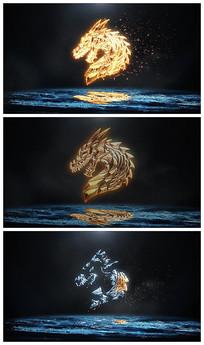 震撼冰与火logo燃烧粒子视频模板