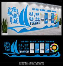 大型3D立体蓝色商务企业文化墙