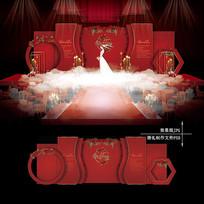 红金色主题婚礼效果图设计婚庆背景