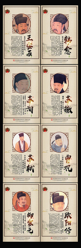 中国古代人物名人名言展板