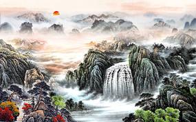 国画中式山水背景墙