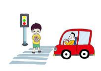 过马路看手机- 交通安全主题插画