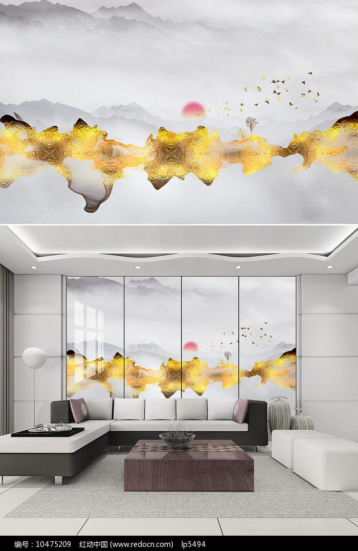 金色现代新中式电视背景墙图片