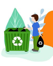 垃圾分类插画素材男孩扔垃圾原创垃圾桶元素